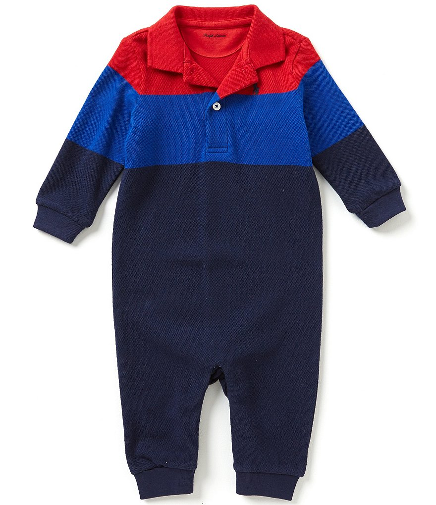 Ralph Lauren Childrenswear Baby Boys 3-12 Months Color Block Mesh Coveralls