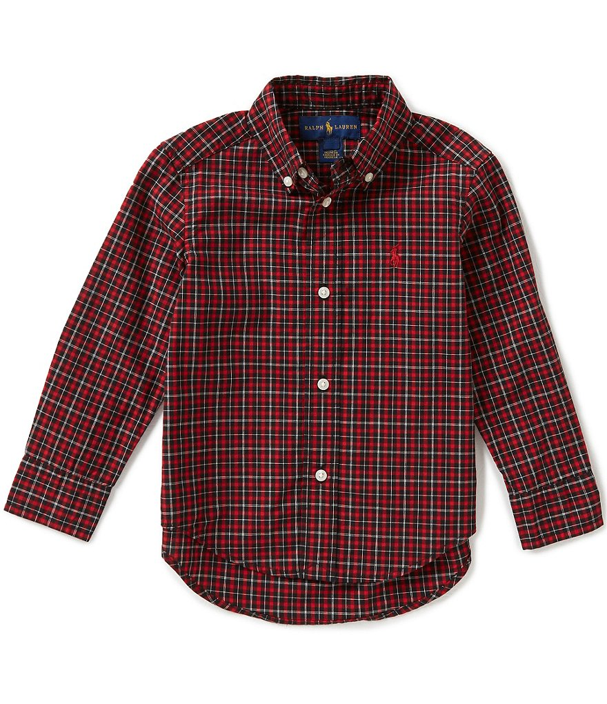 Ralph Lauren Childrenswear Little Boys 2T-7 Plaid Long-Sleeve Poplin Shirt