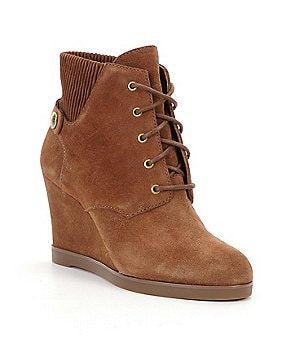 MICHAEL Michael Kors Suede Lace-Up Wedge Booties