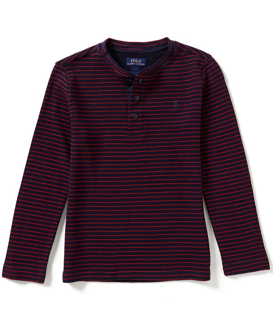 Ralph Lauren Childrenswear Little Boys 2T-7 Waffle-Knit Long-Sleeve Striped Henley Tee