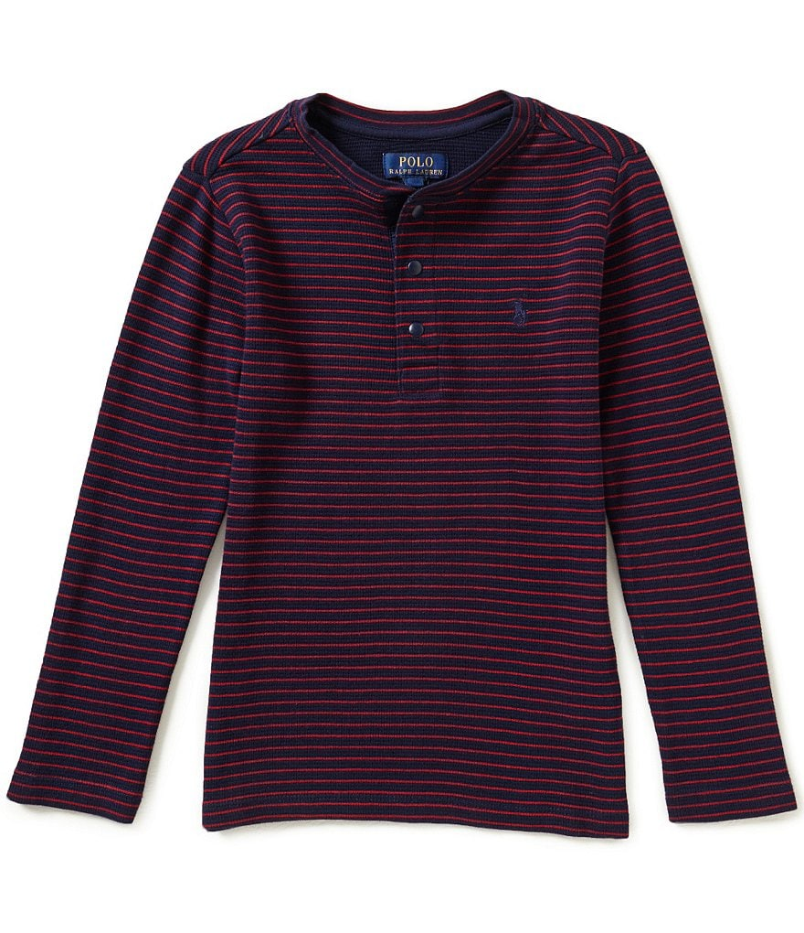 Ralph Lauren Childrenswear Big Boys 8-20 Striped Long-Sleeve Waffle-Knit Henley Tee