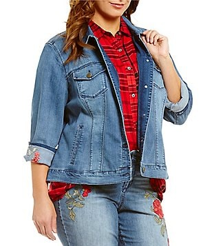 Code Bleu Plus Ariel Rose Embroidery Button-Front Denim Jacket