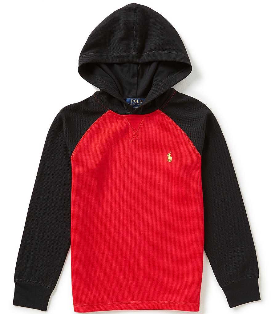 Ralph Lauren Childrenswear Big Boys 8-20 Waffle-Knit Color Block Pullover Hoodie