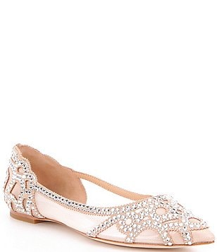 Badgley Mischka Gigi Rhinestone Embellished Pointed-Toe Satin Flats