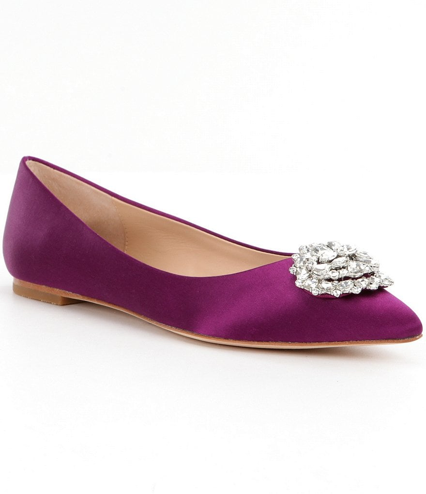 Badgley Mischka Davis Pointed-Toe Satin Flats