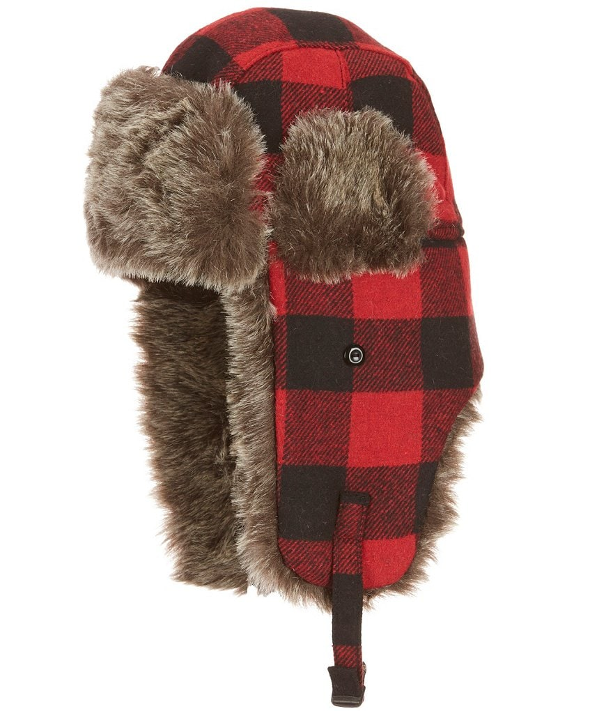 Lake of the Isles Buffalo Plaid Trapper with Faux Fur