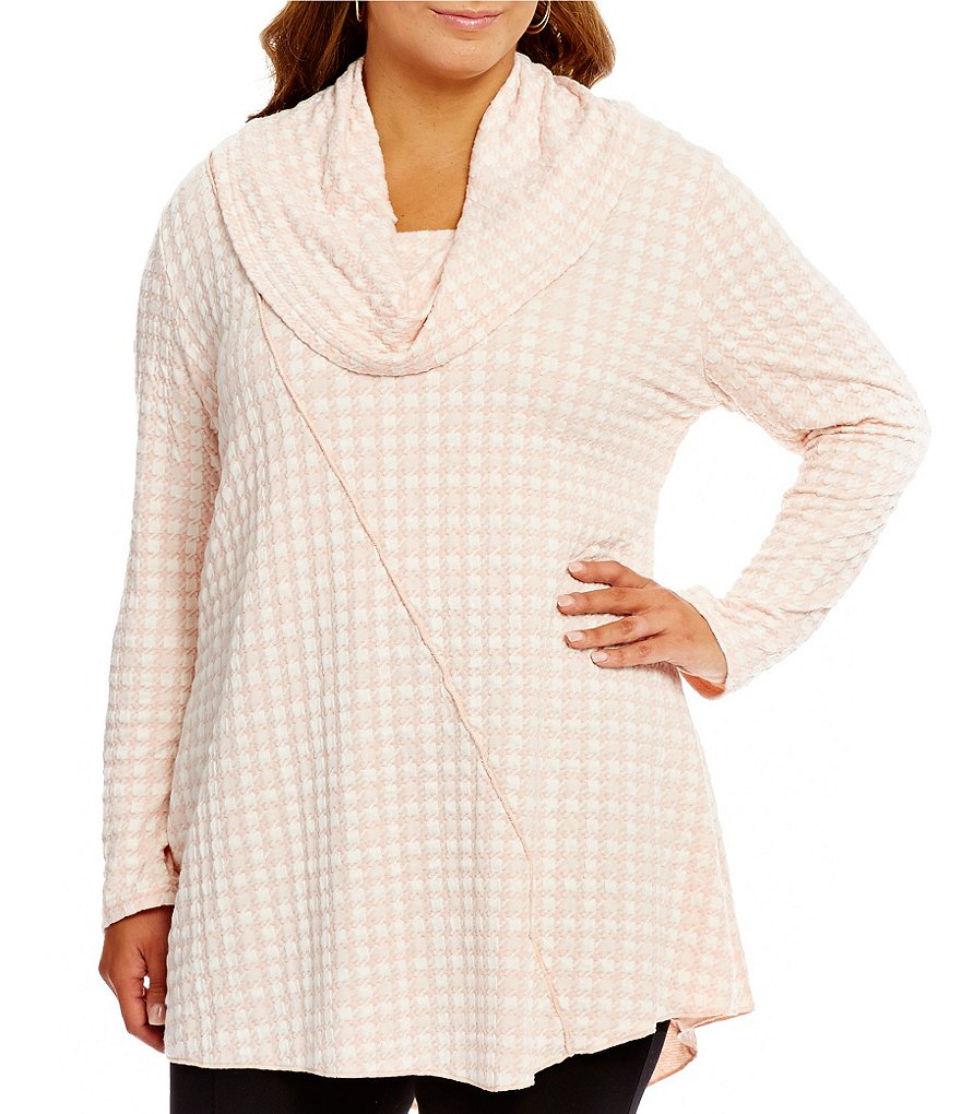 Calessa Plus Cowl Neck Houndssooth Tunic