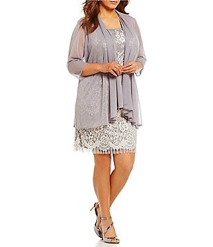 R&M Richards Plus Embroidered Lace Fringe Jacket Dress