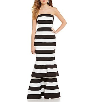 Kay Unger Stiped Banded Two-Tiered Strapless Gown