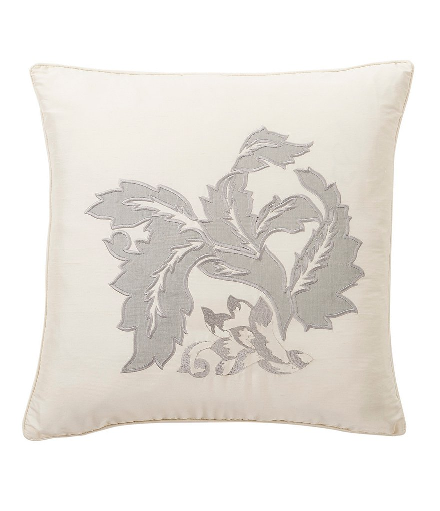 Waterford Aldrich Leaf-Appliquéd Square Pillow