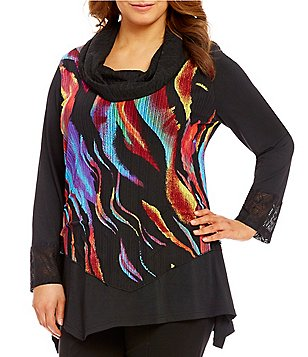 Calessa Plus Cowl Neck Long Sleeve Asymmetrical Hem Patchwork Tunic