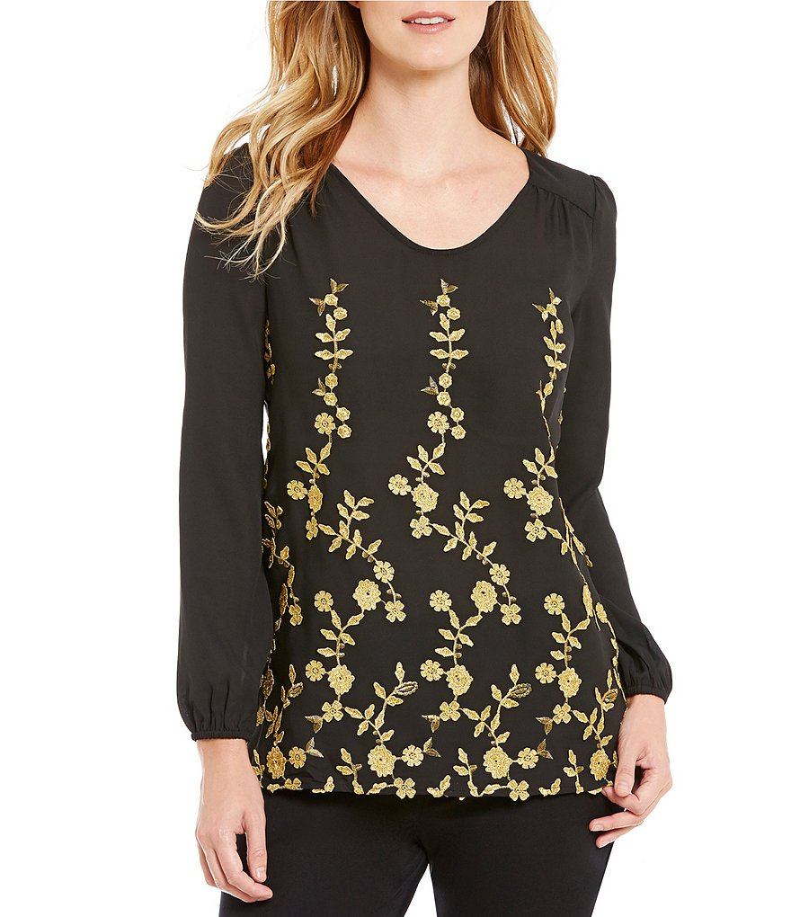 ECI Gold Leaf Pattern Long Sleeve Tunic