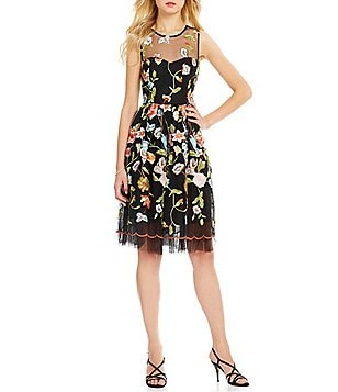 ECI Embroidered Mesh Sleeveless Fit-and-Flare Dress