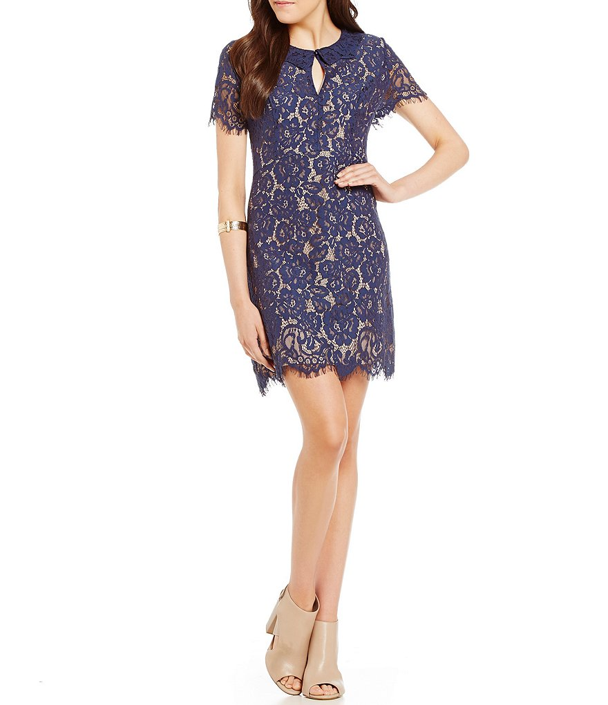 C&V Chelsea & Violet Scalloped Lace Sheath Dress