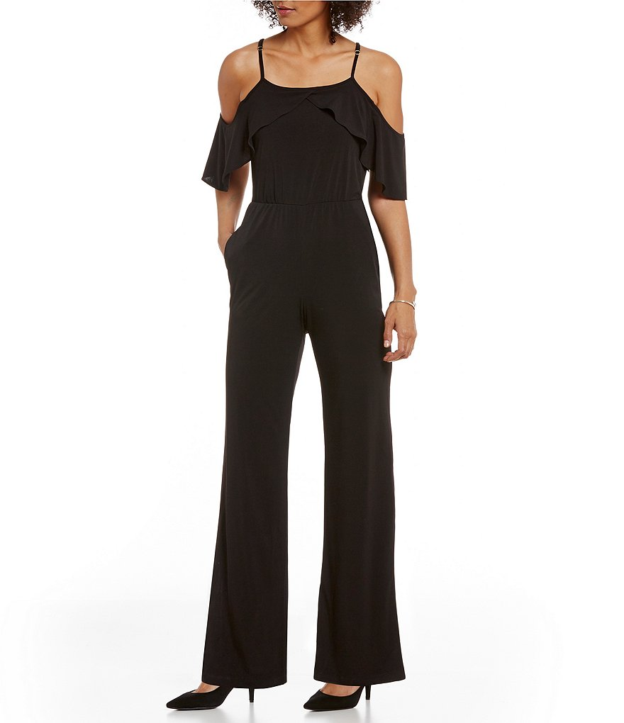 ECI Short Sleeve Ruffled Cold-Shoulder Wide Leg Solid Jumpsuit