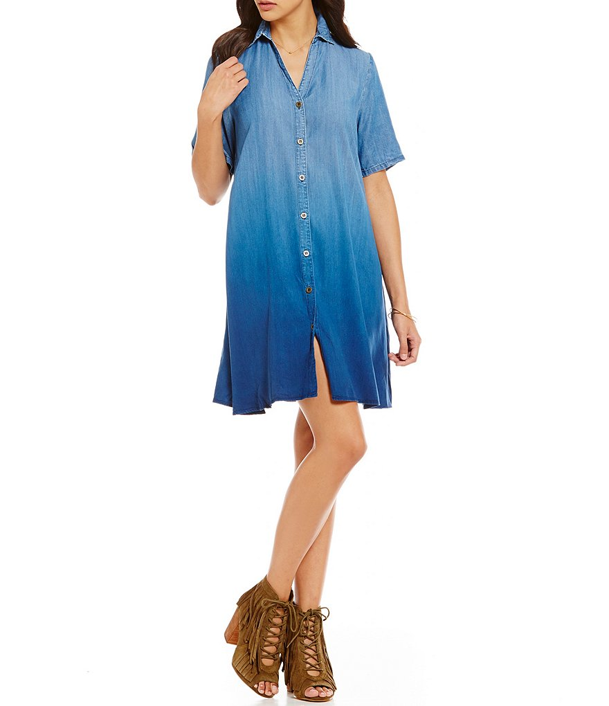 C&V Chelsea & Violet Ombre Chambray Shirtdress