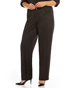 Calvin Klein Plus Straight Leg Pinstripe Trouser Pants