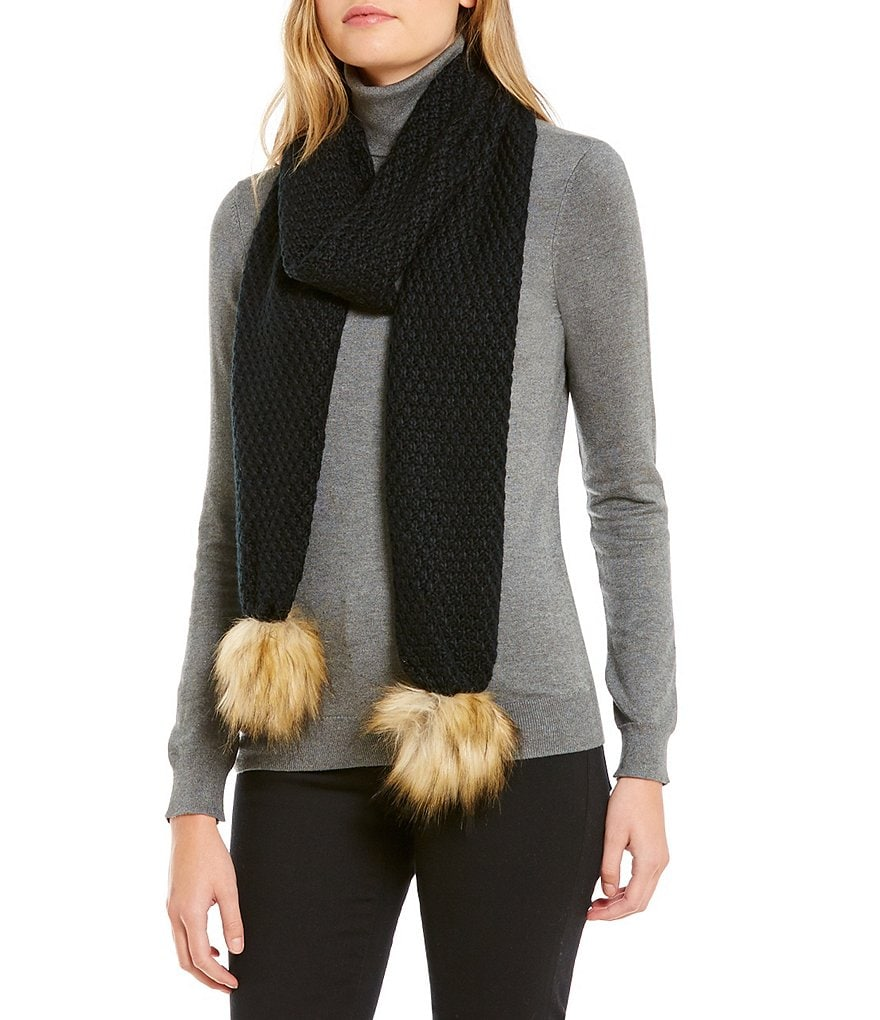 Lauren Ralph Lauren Moss-Stitch Scarf with Faux-Fur Pom