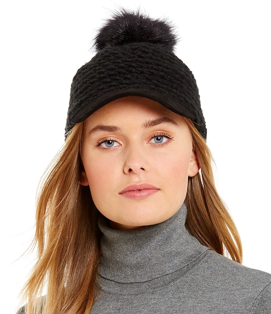 Lauren Ralph Lauren Textured Hat with Faux-Fur Pom