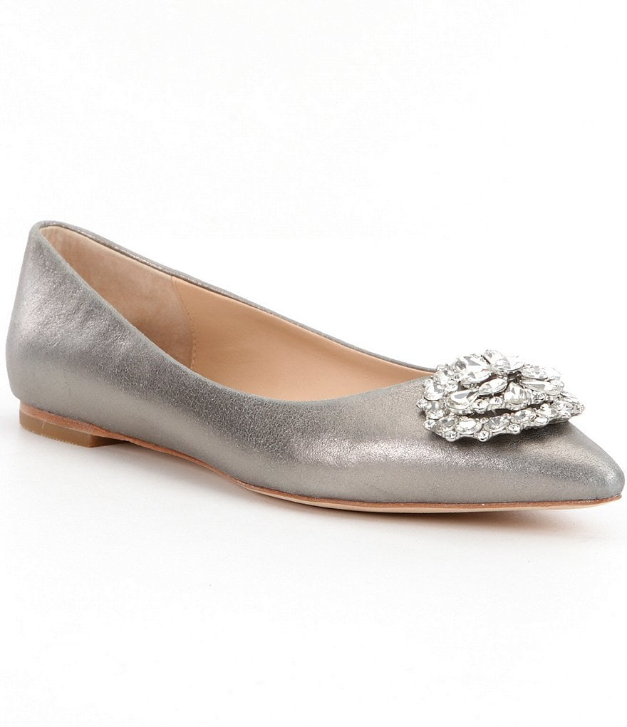 Badgley Mischka Davis II Metallic Brooch Accent Pointed-Toe Flats
