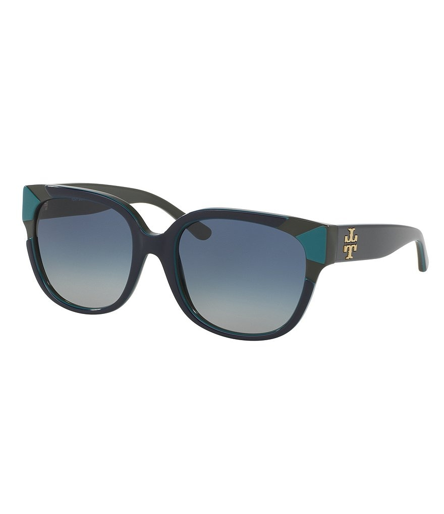 Tory Burch Color Block Double-T Gradient Square Sunglasses