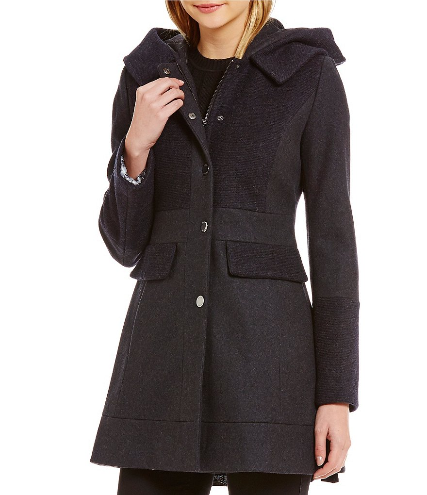 Guess Single Breasted Hooded Wool Coat