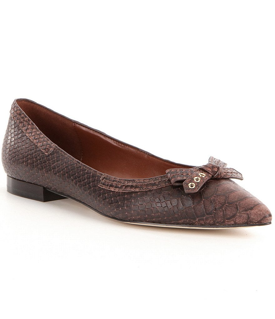 Cole Haan Alice Crocodile-Embossed Leather Grommet & Bow Detail Skimmer Flats