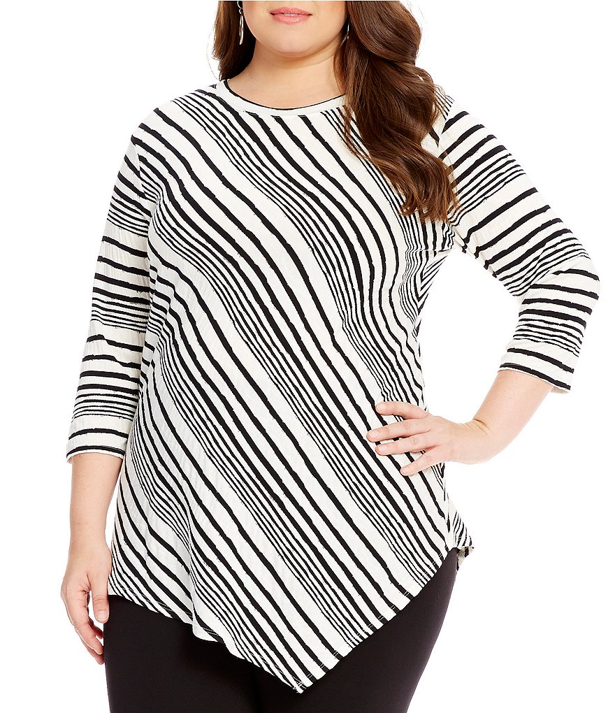 Vince Camuto Plus Stripe Asymmetrical Top