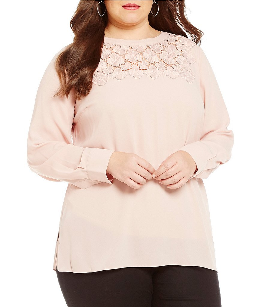 Vince Camuto Plus Embroidered Lace Long Sleeve Blouse