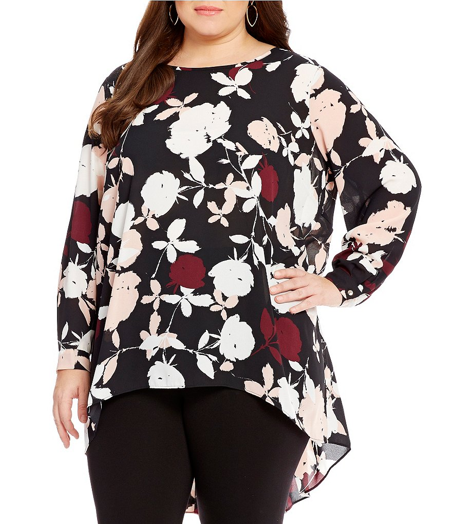 Vince Camuto Plus Chapel Rose High Low Blouse
