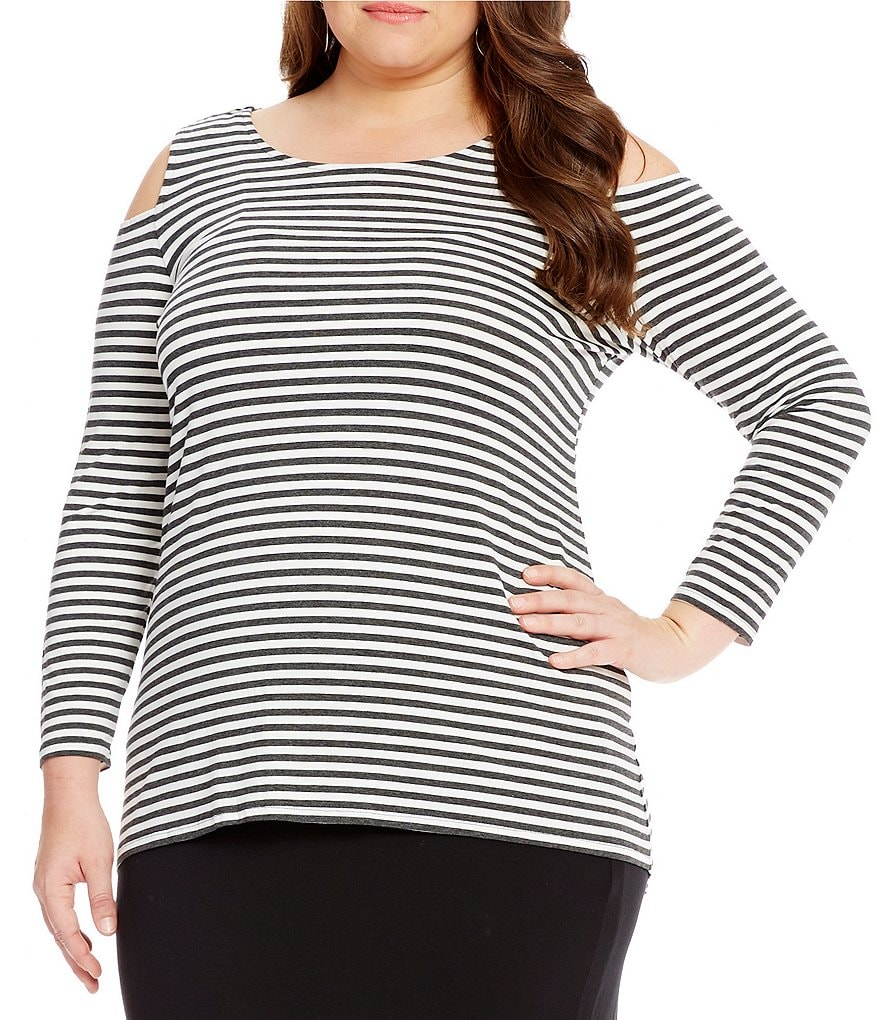 Vince Camuto Plus Parlour Stripe Cold-Shoulder Top