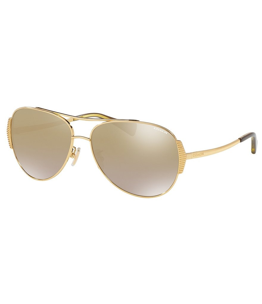 COACH IDOL RETRO FLASH/MIRROR AVIATOR SUNGLASSES