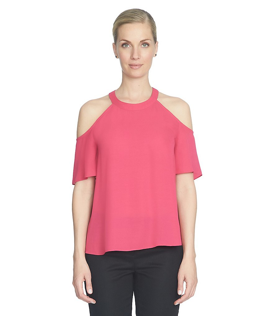CeCe ColdShoulder Short Sleeve Blouse