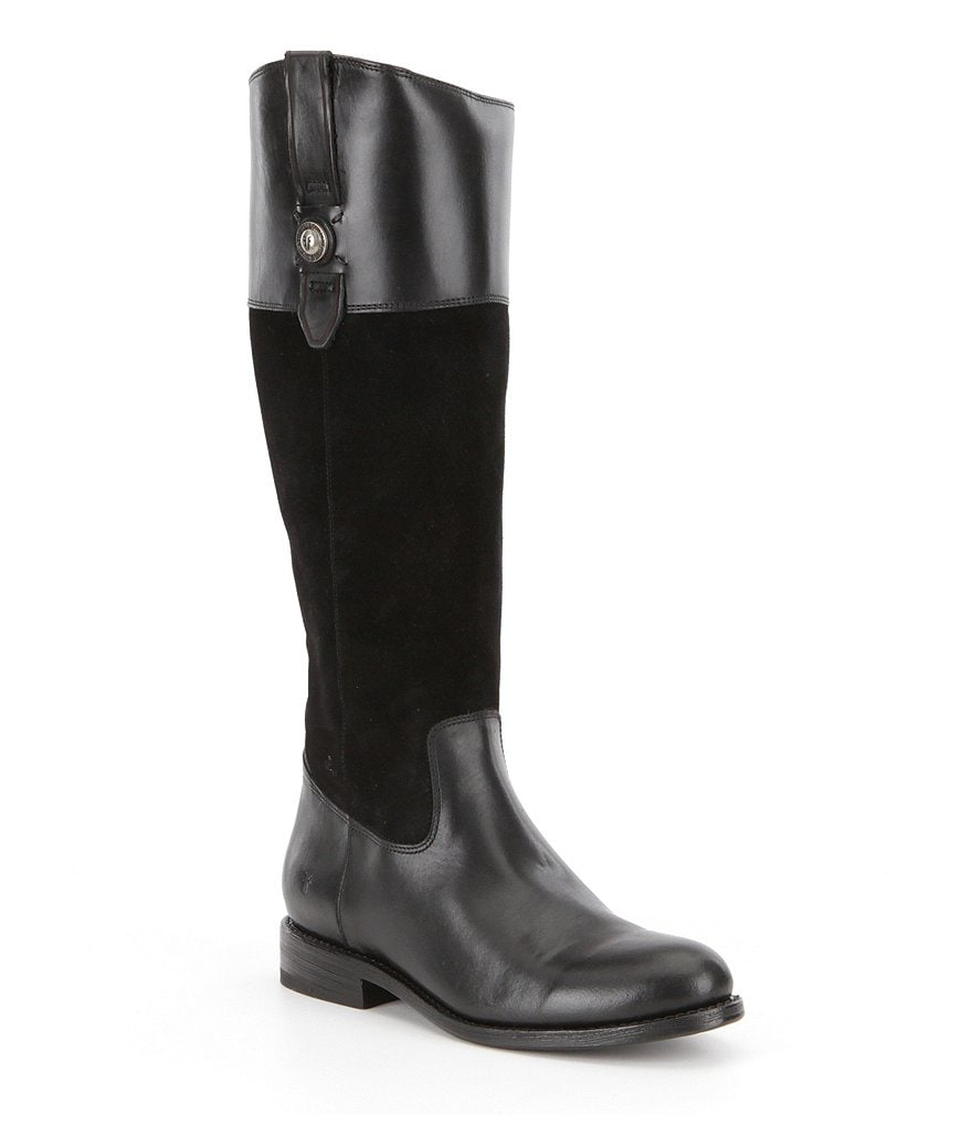 Frye Jayden Button Suede and Leather Tall Riding Boots