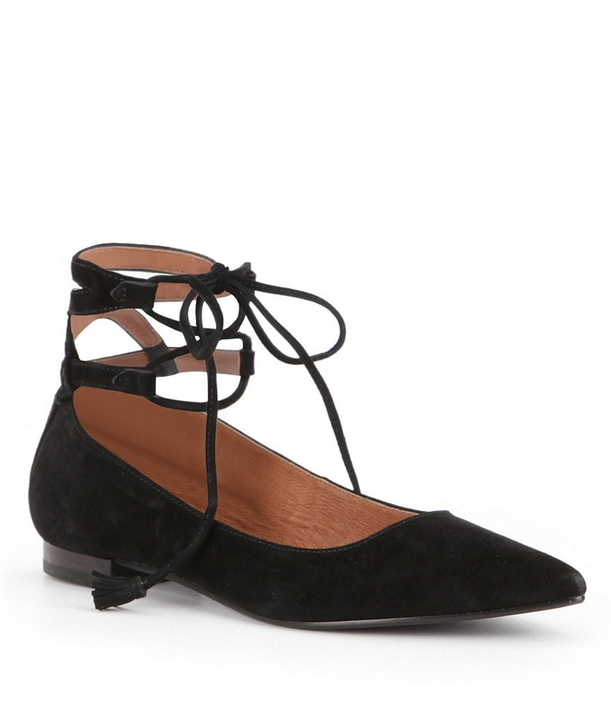 Frye Sienna Suede Lace-Up Ghillie Ballet Flats