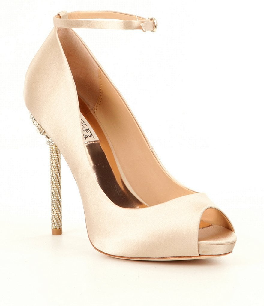 Badgley Mischka Diego Satin Peep Toe Pumps
