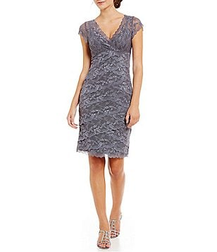 Marina Tiered Beaded Lace V-Neck & V-Back Cap Sleeve Dress