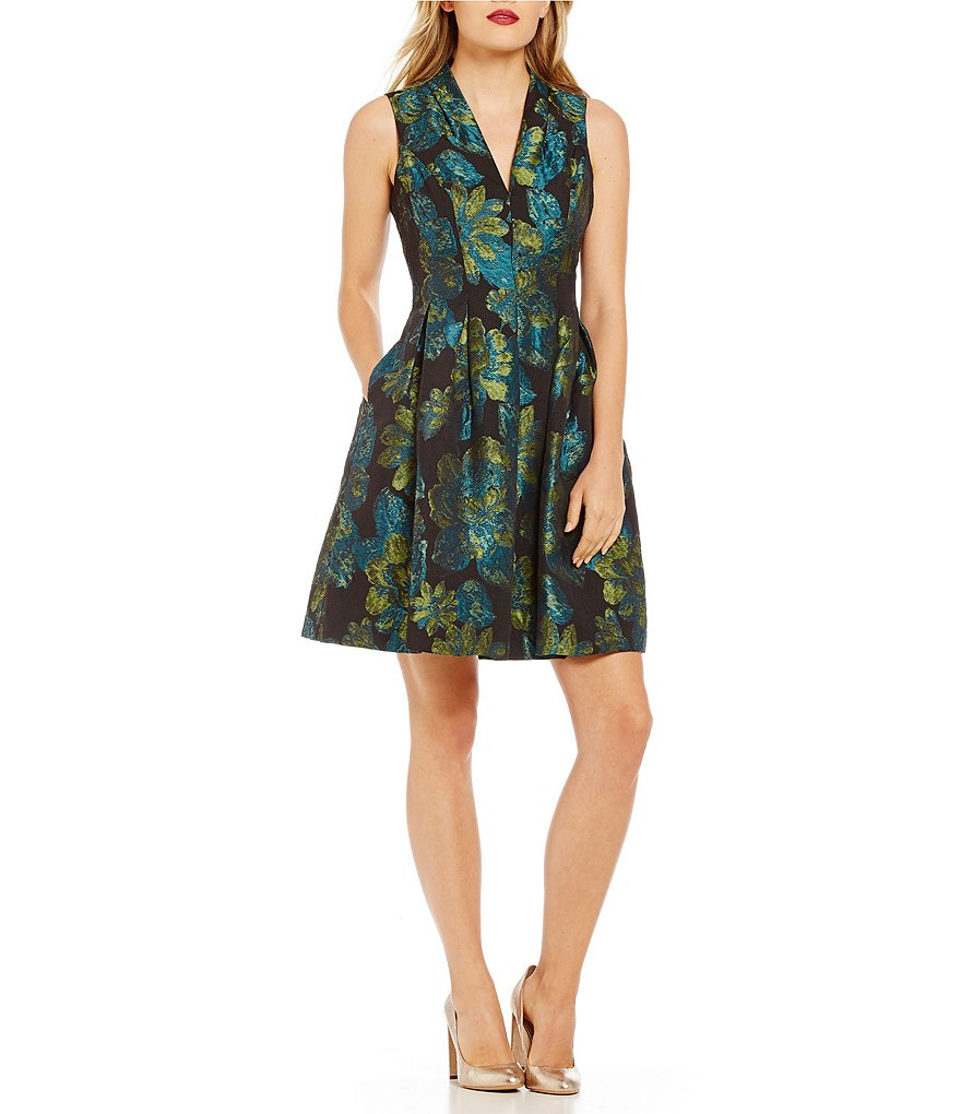 Vince Camuto Floral Jacquard Flare Dress