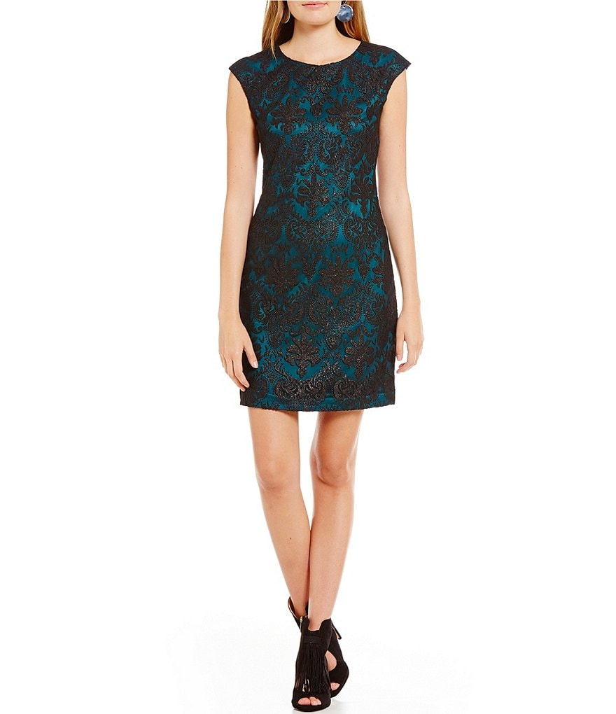Vince Camuto Tapestry Overlay Cap Sleeve Dress