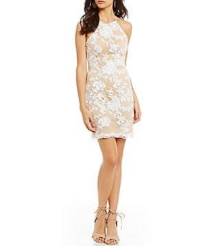 B. Darlin Sequin Floral Pattern Overlay Sheath Dress