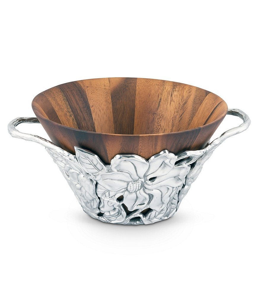 Arthur Court Magnolia Wood Salad Bowl with Holder