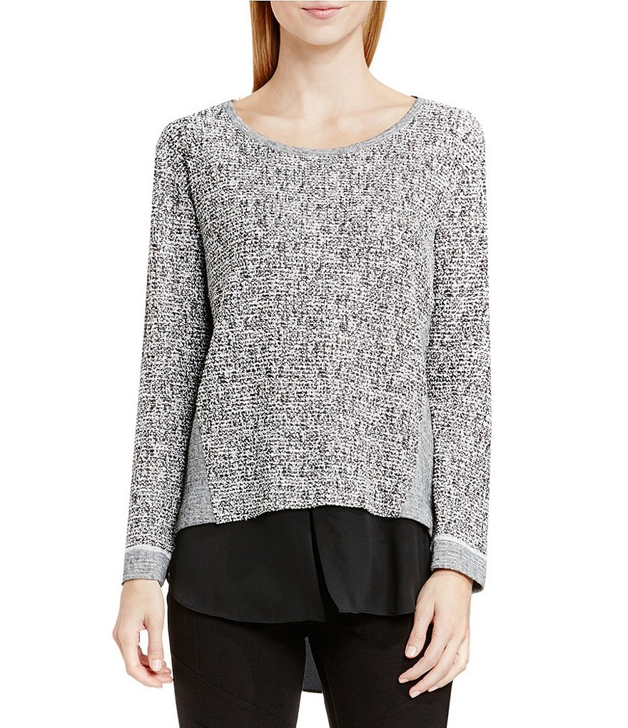 Two by Vince Camuto Lurex Salt & Pepper Shirttail Top