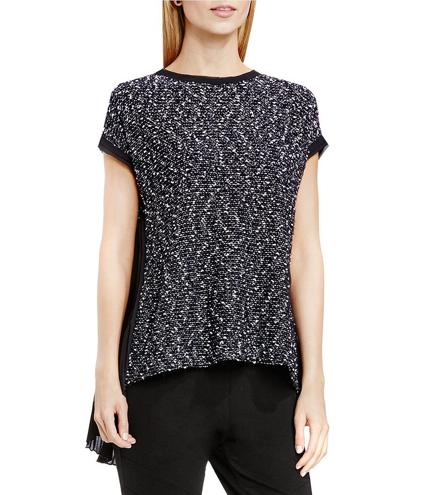 Two by Vince Camuto Slubby Knit Back Pleat Top