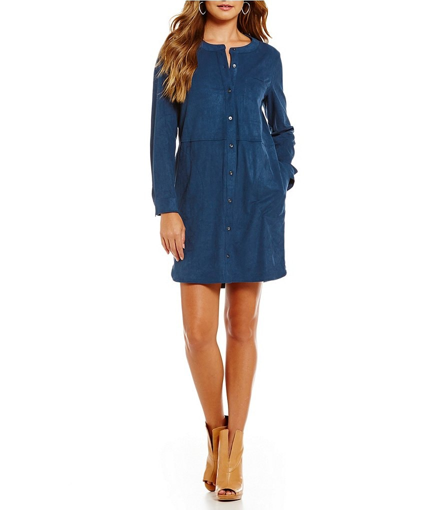 Two By Vince Camuto Faux-Suede Shirt Dress