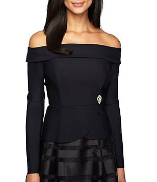 Alex Evenings Stretch Off-the-Shoulder Long Sleeve Blouse