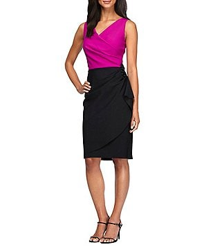 Alex Evenings V-Neck Sleeveless Ruched Colorblock Sheath Dress