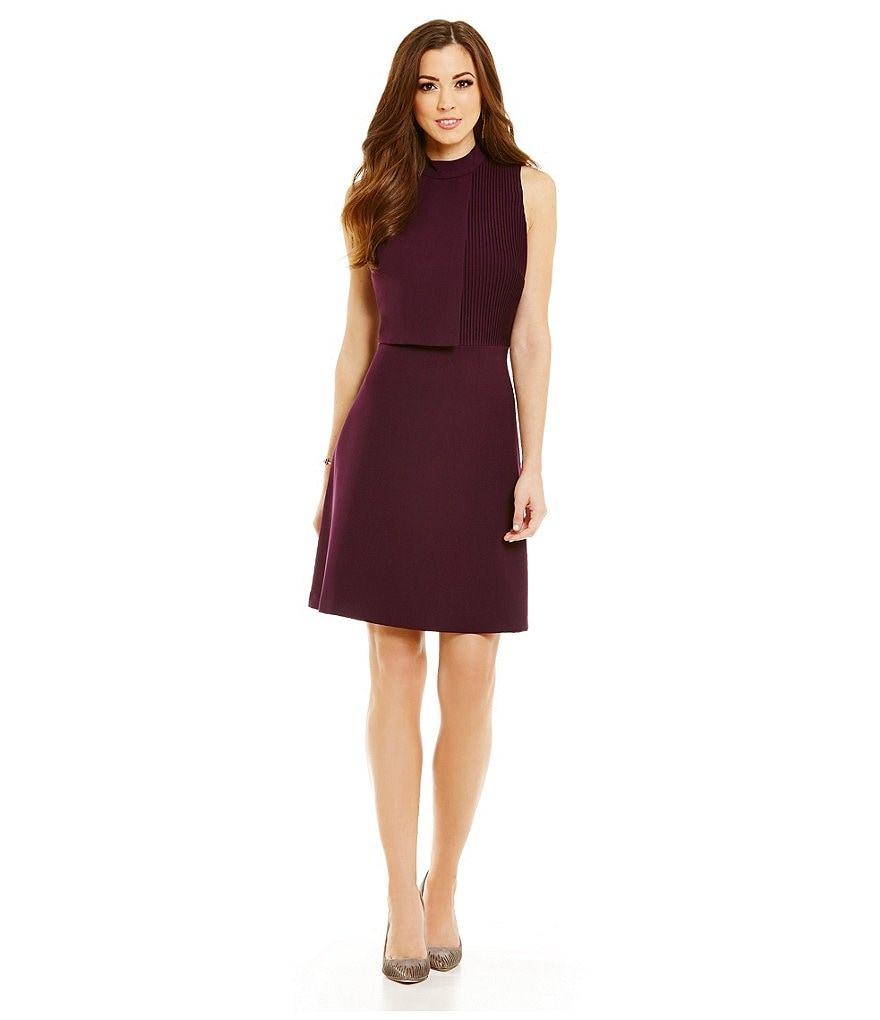 Antonio Melani Batie Mock Neck Pleated Crepe Dress