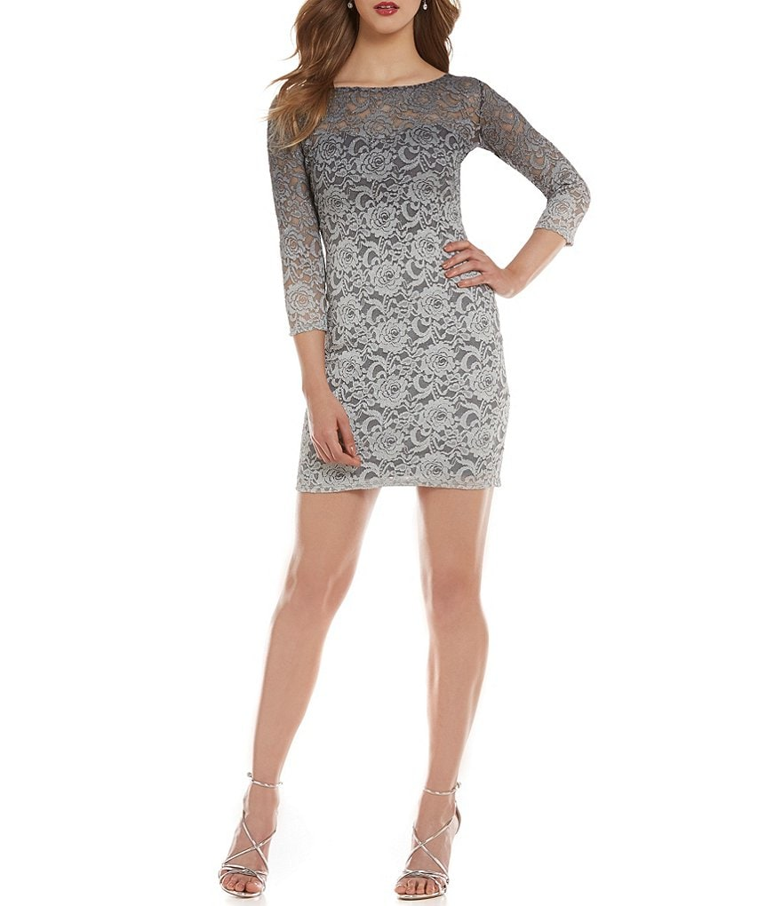 Jump Glitter Lace 3/4 Sleeve Ombre Sheath Dress