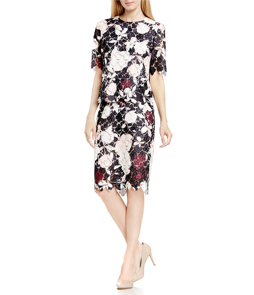 Vince Camuto Chapel Rose Printed Lace Top