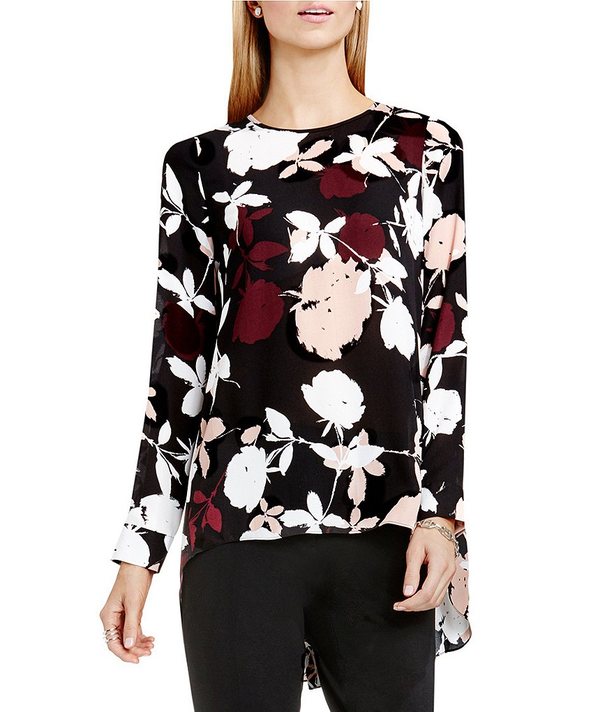 Vince Camuto Chapel Rose High Low Blouse